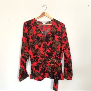 Topshop Blouse Floral Peplum Crossover